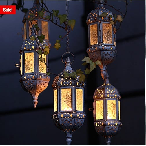 Wedding Reception Decors:  Moroccan Hanging Glass Tea Light Candle Holders